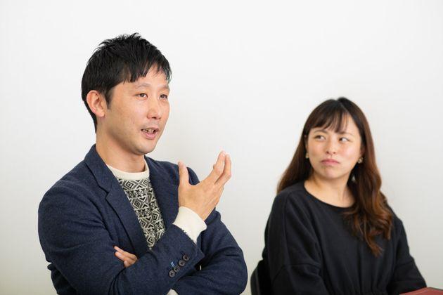 街づくりについて語る、田中俊之さん(左)