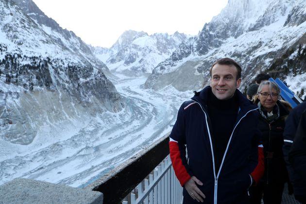 Emmanuel Macron en visite sur la mer de glace ce jeudi 13