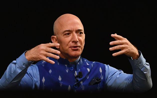 Jeff Bezos lors d'un événement Amazon en Inde en janvier