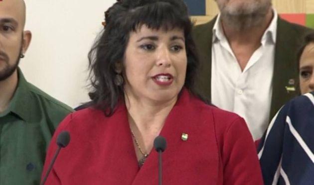 Teresa Rodríguez, durante su rueda de prensa de este
