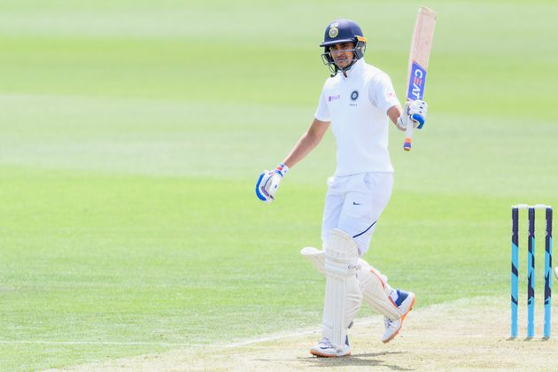 Shubman Gill of India A celebrates his half century during Day 1 of the Test Series between New Zealand...