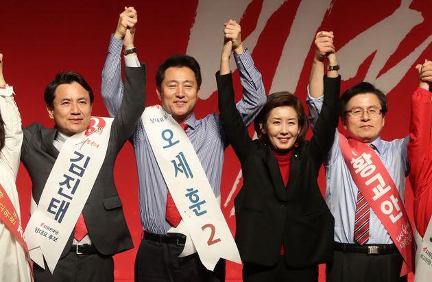 지난해 자유한국당 당대표 선거에 출마했던 오세훈 전 서울시장과 나경원 전