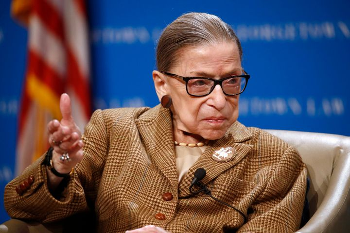 Supreme Court Justice Ruth Bader Ginsburg speaks during a discussion on the 100th anniversary of the ratification of the 19th