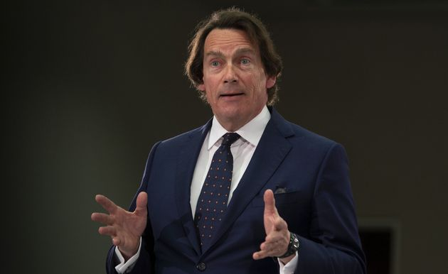 Quebecor CEO Pierre Karl Peladeau speaks during public hearings at the CRTC in Gatineau, Que., Wed. April...
