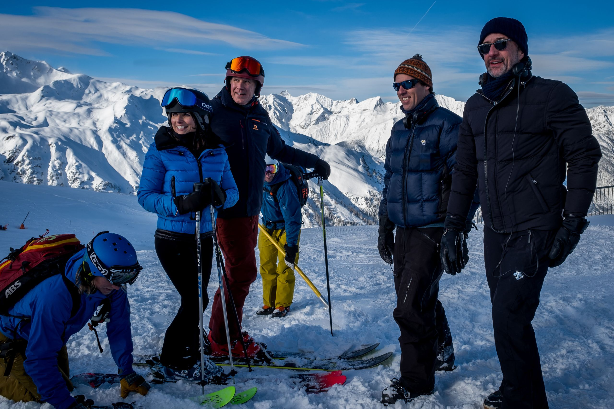"""Julia Louis-Dreyfus, Will Ferrell and directors Nat Faxon and Jim Rash on the set of """"Downhill."""""""