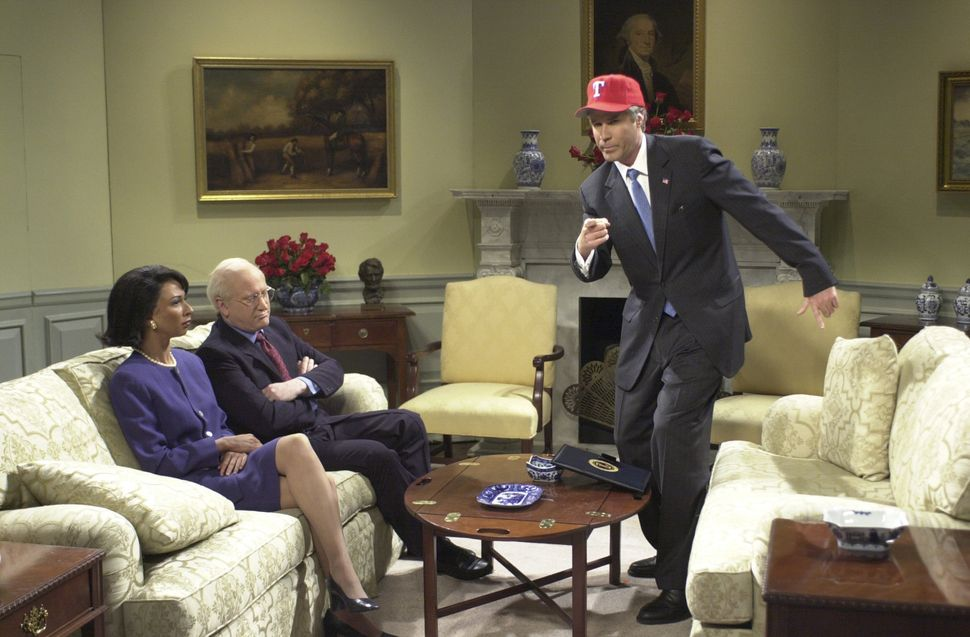 "Will Ferrell interpretando George W. Bush no ""Saturday Night Live"", em"