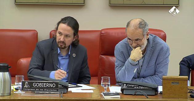 Pablo Iglesias y Joan Ruiz, en la Comisión de Derechos