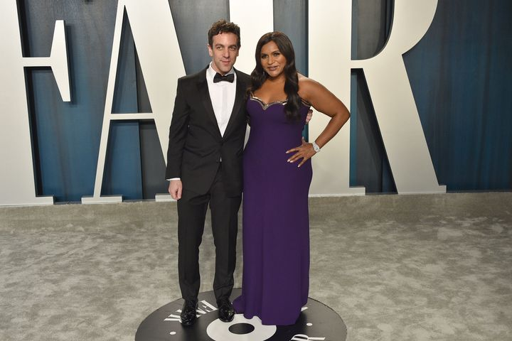 B.J. Novak and Mindy Kaling attend the 2020 Vanity Fair Oscar Party at Wallis Annenberg Center for the Performing Arts on Feb