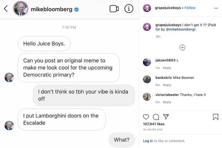 Westlake Legal Group 5e457cc0210000560226982e Instagram's Biggest Meme Accounts Are Running Sponcon For Bloomberg