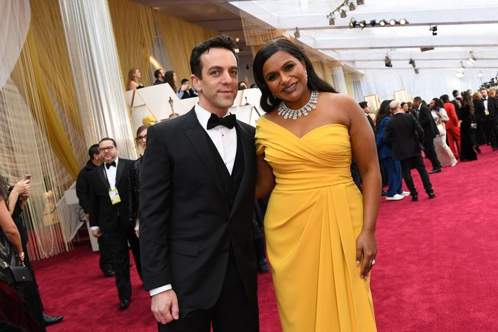 B.J. Novak and Mindy Kaling arrive for the 92nd Oscars at the Dolby Theatre in Hollywood, California on Feb. 9, 2020.