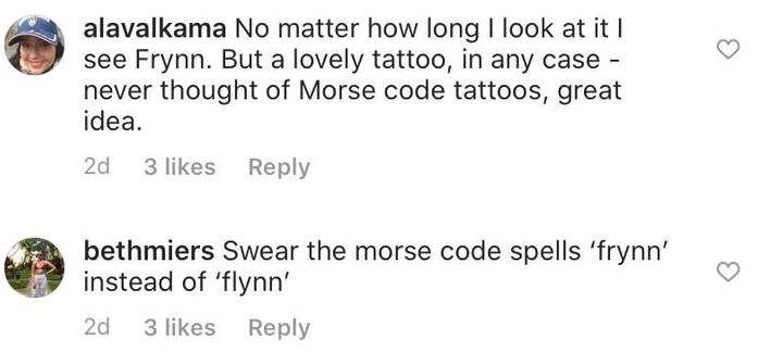Westlake Legal Group 5e4581ef250000fd02080d44 Orlando Bloom's New Tattoo For His Son Is Wrong, Morse Code Experts Say