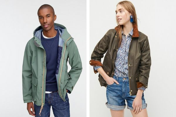 Two jackets from J.Crew: The men's jacket on the left features a zipper tab on the right side, and the women's jacket on the right features a zipper tab on the left side.