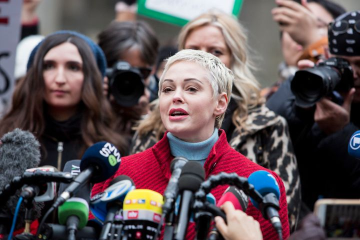 Rose McGowan speaks to the press as Harvey Weinstein arrived at court on Jan. 6, 2020, in New York City.
