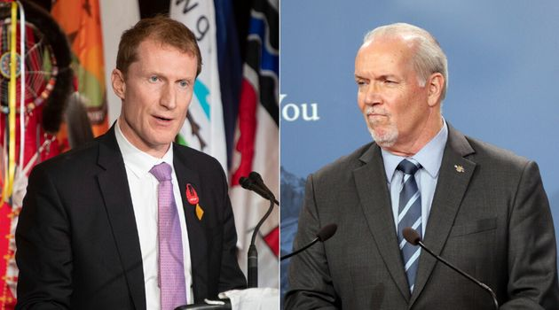Indigenous Services Minister Marc Miller and B.C. Premier John Horgan are shown in a composite