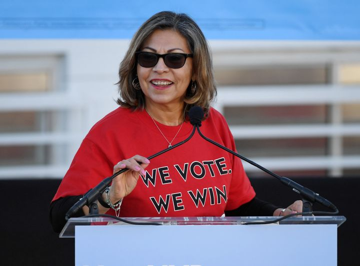 Geoconda Argüello-Kline, head of the Culinary Union, speaks at an election rally in October 2018. The union is a key par