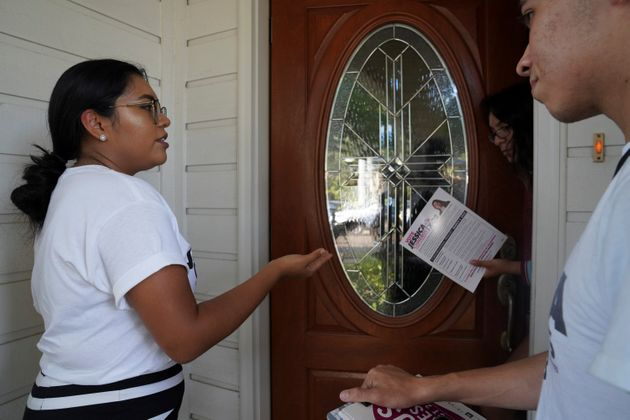 Democrat Jessica Cisneros campaigns for a House seat in Laredo,