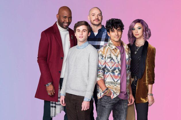 (De izquierda a derecha): Karamo Brown como Paul, Jake Borelli como Sam, director y coguionista Peter Paige como Casey, ...