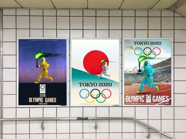 韓国の民間団体「サイバー外交使節団・バンク」が作製したポスター。「TOKYO 2020」の文字に、防護服を着た聖火ランナーがデザインされた=同団体のフェイスブックから