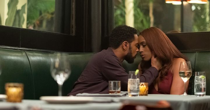 "Mae (Issa Rae) and Michael (LaKeith Stanfield) on their first date in ""The Photograph."""