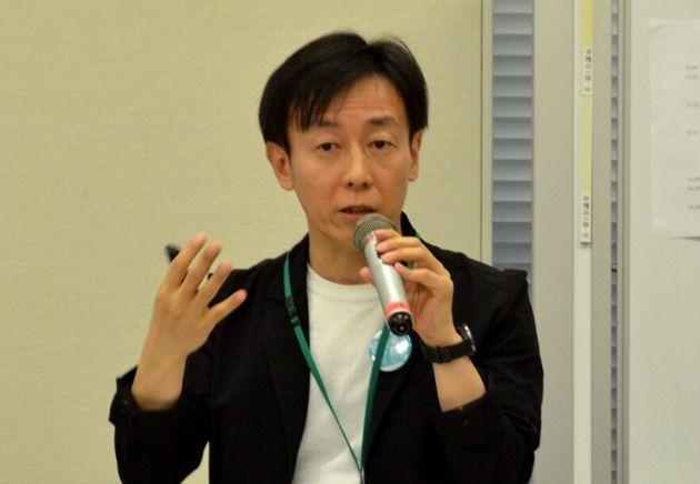 訴訟について説明する「サイボウズ」の青野慶久社長