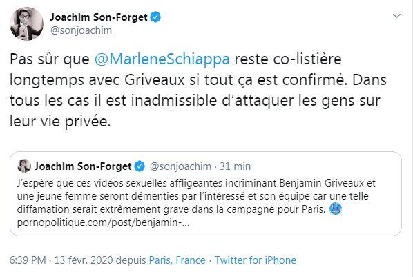 Captures des tweets publiés par Joachim