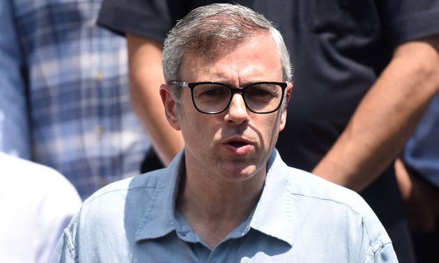 Former Chief Minister of Jammu and Kashmir Omar Abdullah addresses a press conference at his residence...