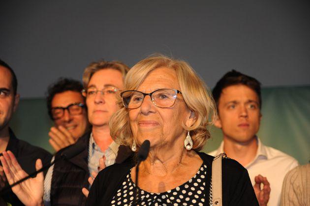 Manuela Carmena, el 27 de mayo de 2019, compareciendo tras conocer los resultados de las elecciones