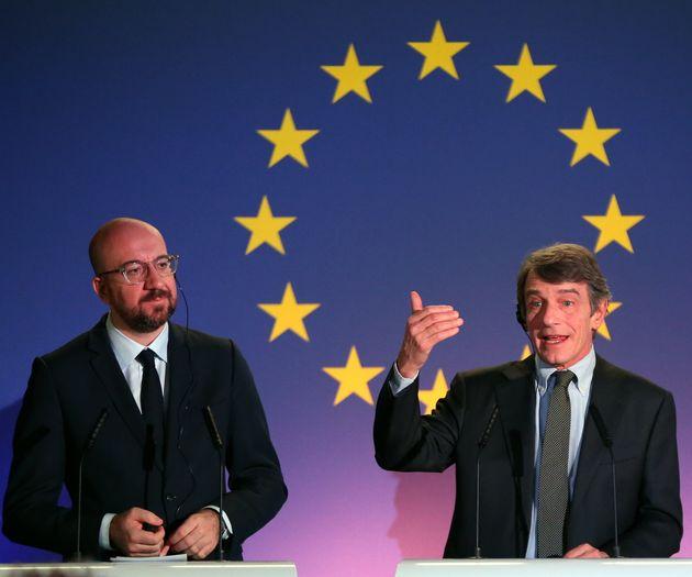 BRUSSELS, BELGIM - JANUARY 31: European Union Council President, Charles Michel (L), European Parliament...