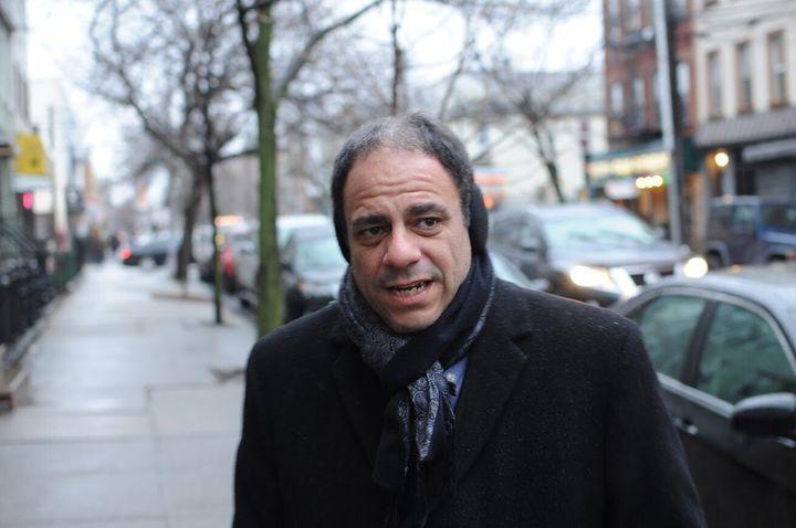 Queens borough president candidate Costa Constantinides knocks doors in Ridgewood, Queens.