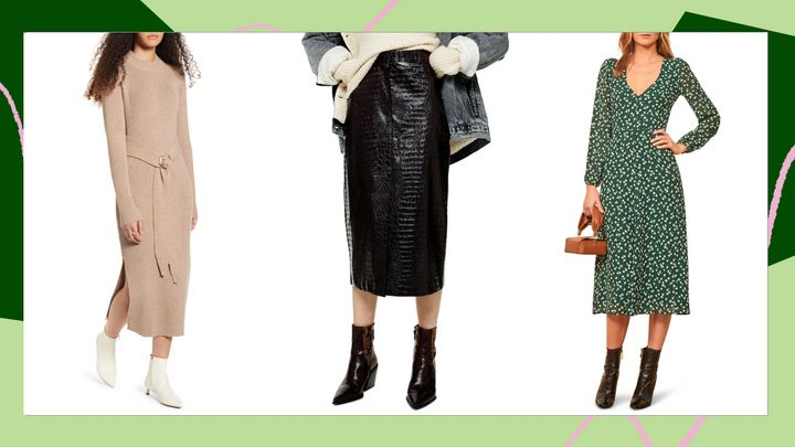 Midi dresses and skirts on sale in Nordstrom's Winter Sale.