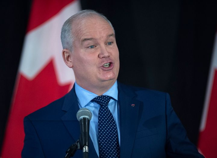 Erin O'Toole addresses the crowd at a federal Conservative leadership forum during the annual general meeting of the Nova Scotia Progressive Conservative party in Halifax on Feb. 8, 2020.