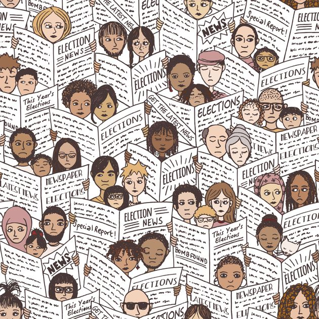 Seamless pattern of diverse people with shocked and sad faces, reading newspapers about the