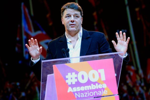 Former Italian premier and leader of the Italia Viva party, Matteo Renzi, addresses a rally in Rome,...