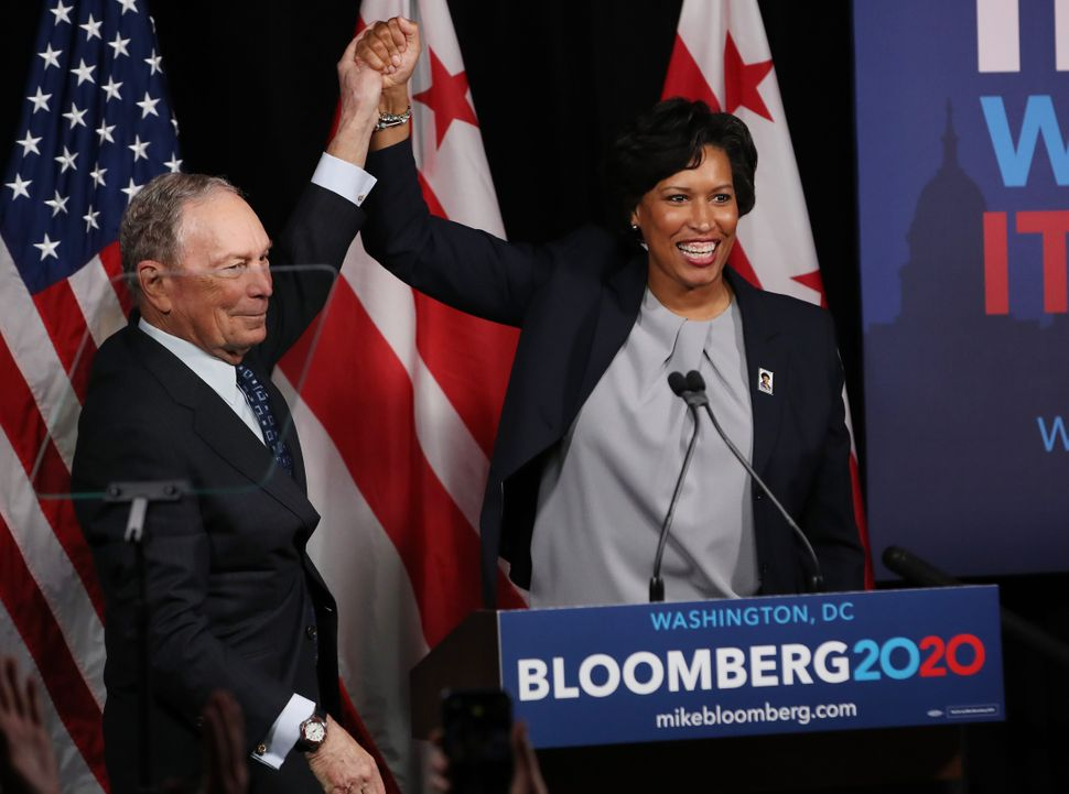 Democratic presidential candidate, former New York City Mayor Michael Bloomberg receives an endorsement from District of Colu