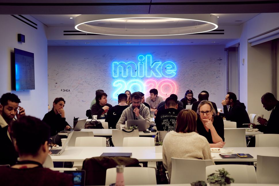 Staffers and volunteers work in Democratic Presidential Candidate Mike Bloomberg's campaign headquarters in Manhattan.