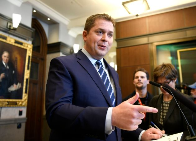 Conservative Leader Andrew Scheer speaks to reporters about rail blockades by activists protesting the...