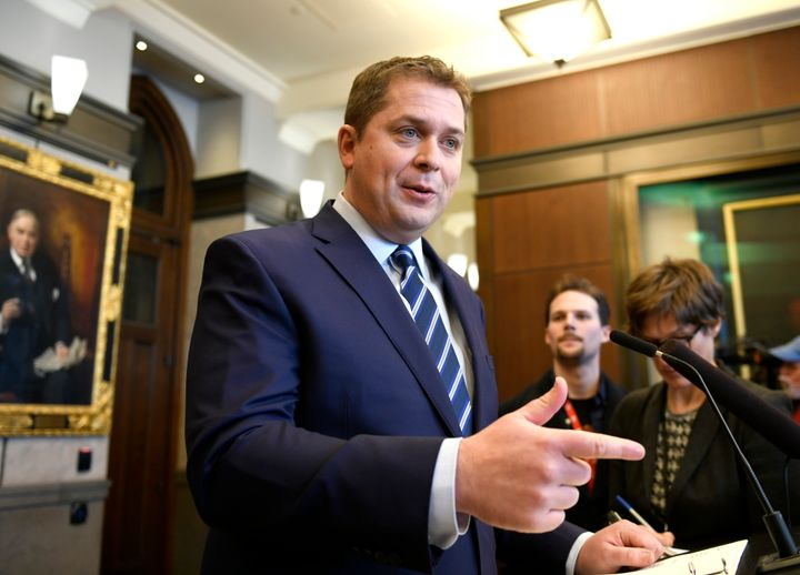 Conservative Leader Andrew Scheer speaks to reporters about rail blockades by activists protesting the Coastal GasLink project, on Parliament Hill in Ottawa on Feb. 14, 2020.