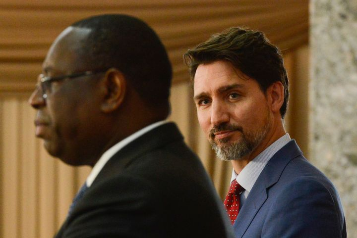 Prime Minister Justin Trudeau takes part in a joint press conference with Senegal President Macky Sall at the Presidential Palace in Dakar, Senegal on Feb. 12, 2020.