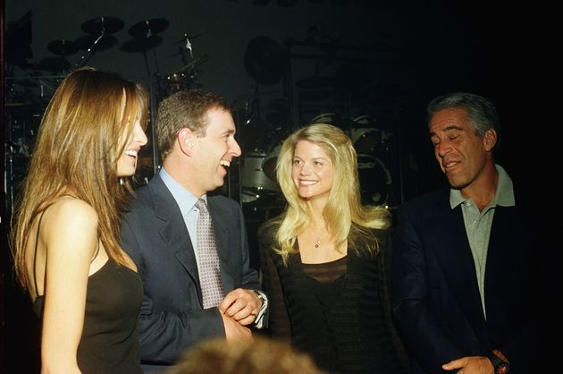 Melania Trump, Prince Andrew, Gwendolyn Beck and Jeffrey Epstein at a party at the Mar-a-Lago club, Palm...
