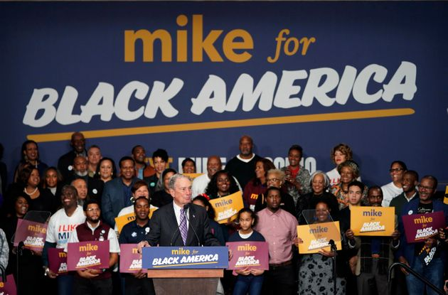 Democratic presidential candidate and former New York City Mayor Michael Bloomberg speaks during his...
