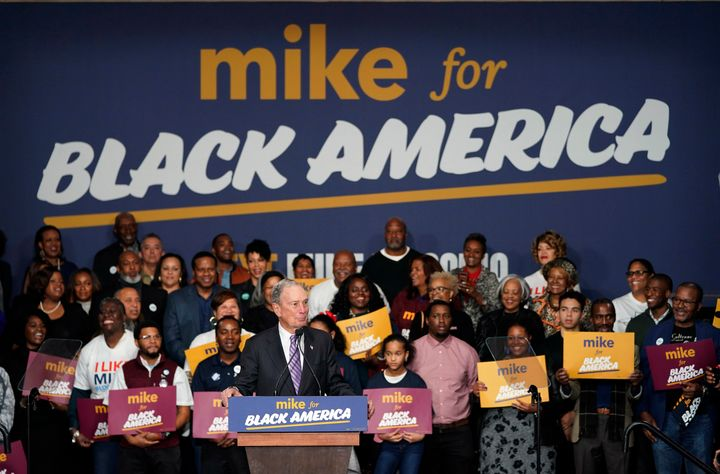 "Democratic presidential candidate and former New York City Mayor Michael Bloomberg speaks during his campaign launch of ""Mike"