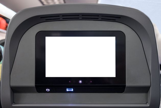 White display entertain screen with button and channel on rear seat in passenger