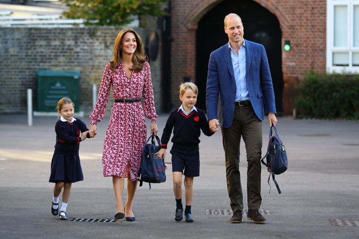 The Duke and Duchess of Cambridge take their children, Prince George and Princess Charlotte, to school on Sept. 5, 2019 in London, England.