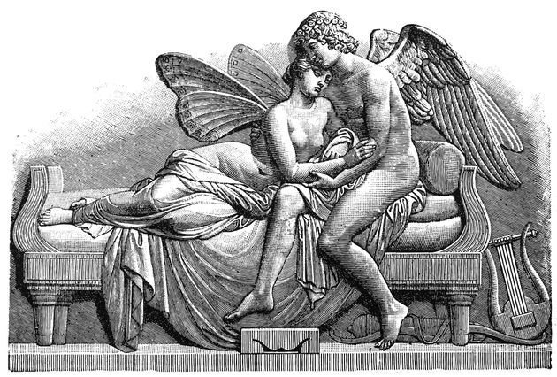 Antique illustration of a Cupid and
