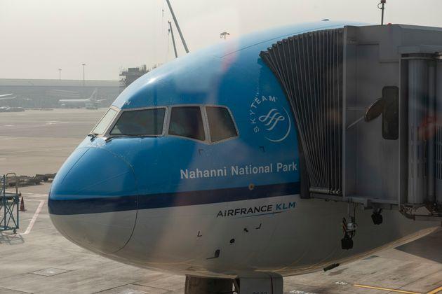 HONG KONG, CHINA - 2019/12/28: KLM Royal Dutch Airlines plane at Hong Kong international airport runway....