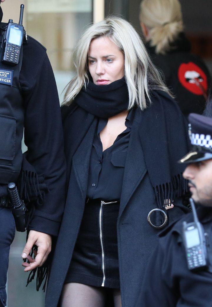 Caroline Flack leaves Highbury Corner Magistrates' Court where she plead not guilty to assaulting boyfriend Lewis Burton.