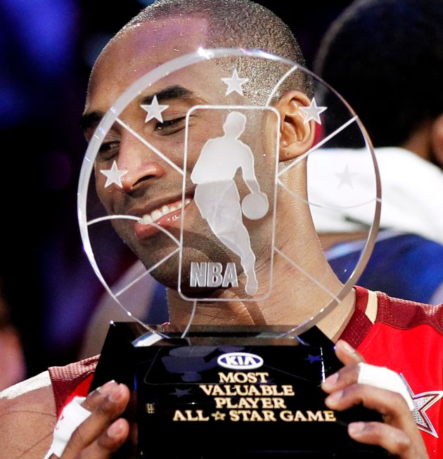Kobe Bryant, pictured here in 2011, won the NBA All-Star Game MVP award four times — in 2002, 2007,...