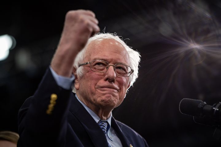 Sen. Bernie Sanders (I-Vt.) addresses supporters in Manchester, New Hampshire, on Tuesday. The narrowness of his win there ha