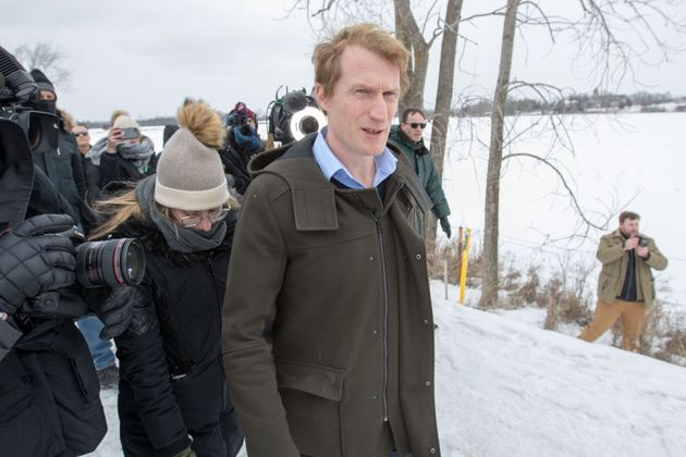 Indigenous Services Minister Marc Miller meets with protesters at a rail blockade near Belleville, Ont.,...
