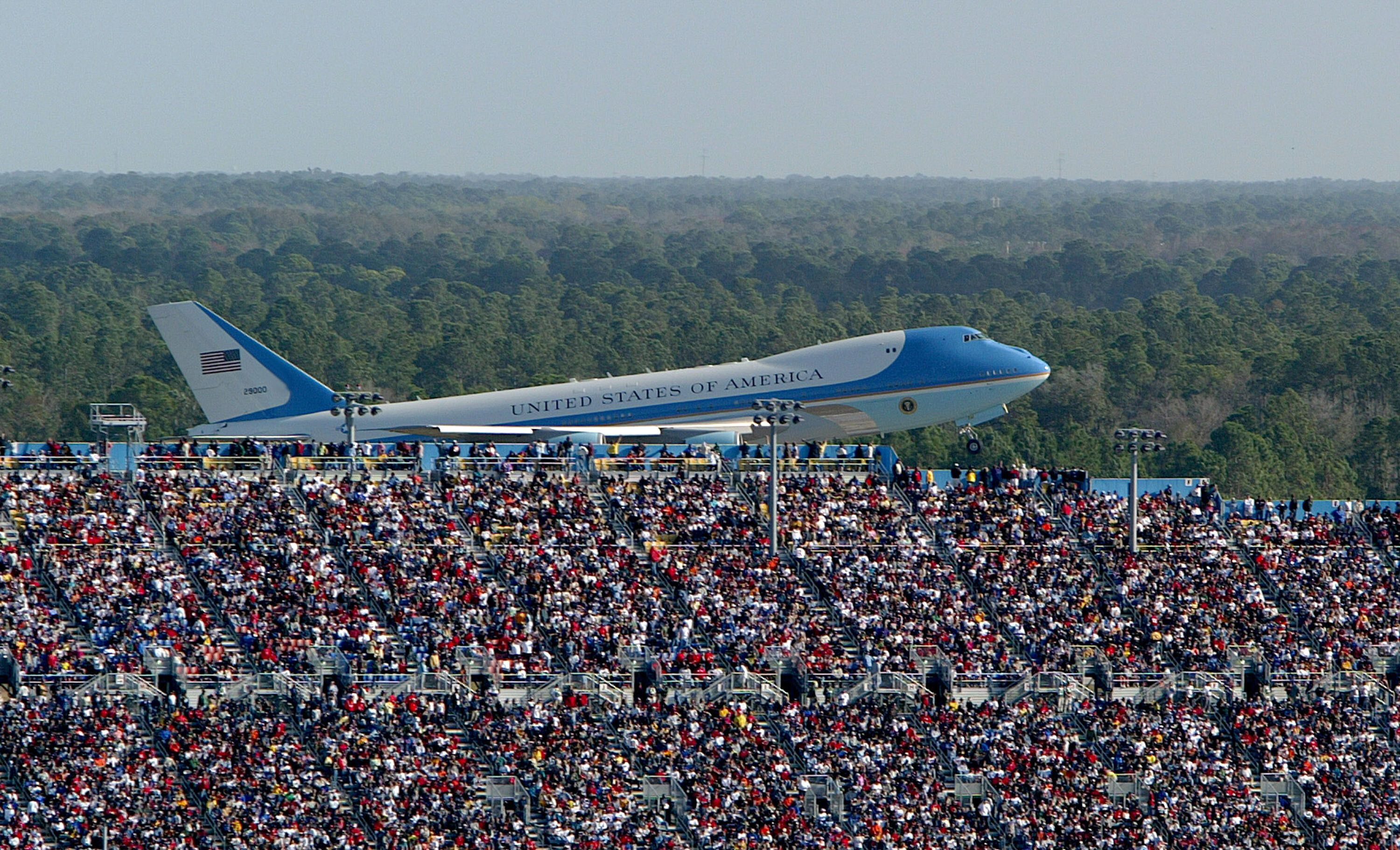 In this 2004 file photo, Air Force One takes off with former President George W. Bush aboard after attending the NASCAR Nextel Cup Daytona 500.